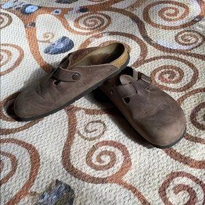 Birkenstock's brown slip on